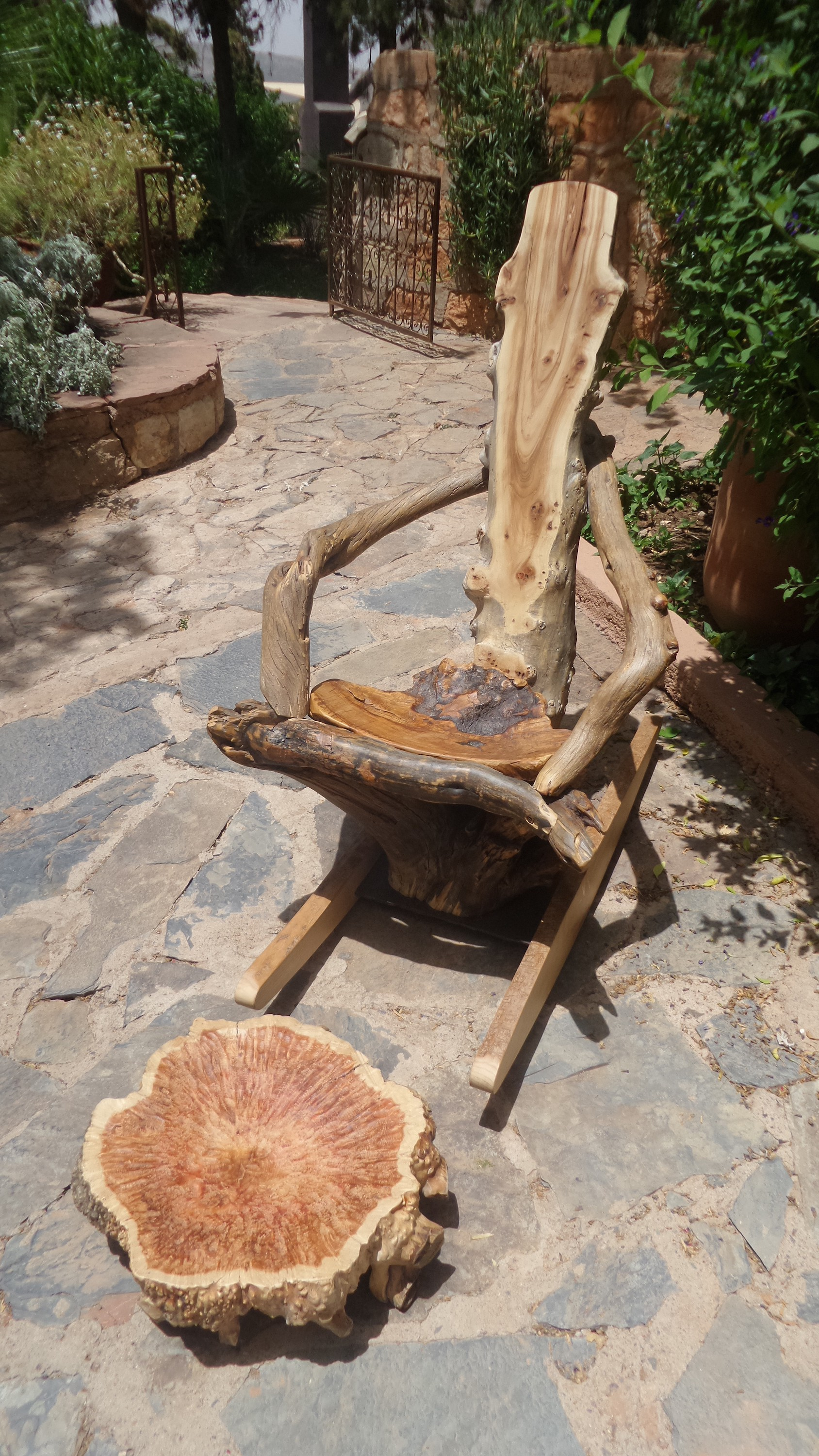 reclaimed wood rocking chair and ottoman