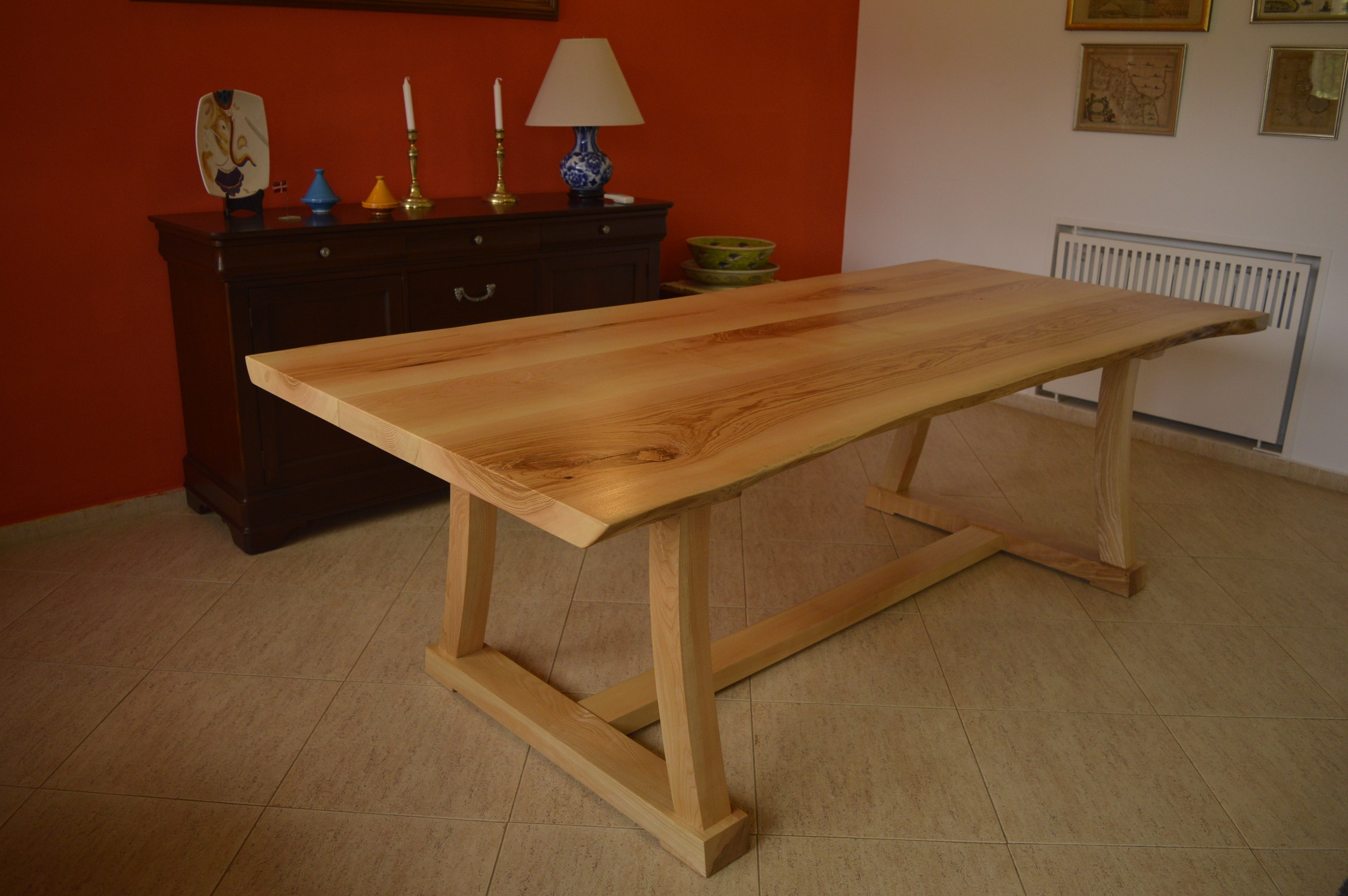 ash dining table - curved trestle base