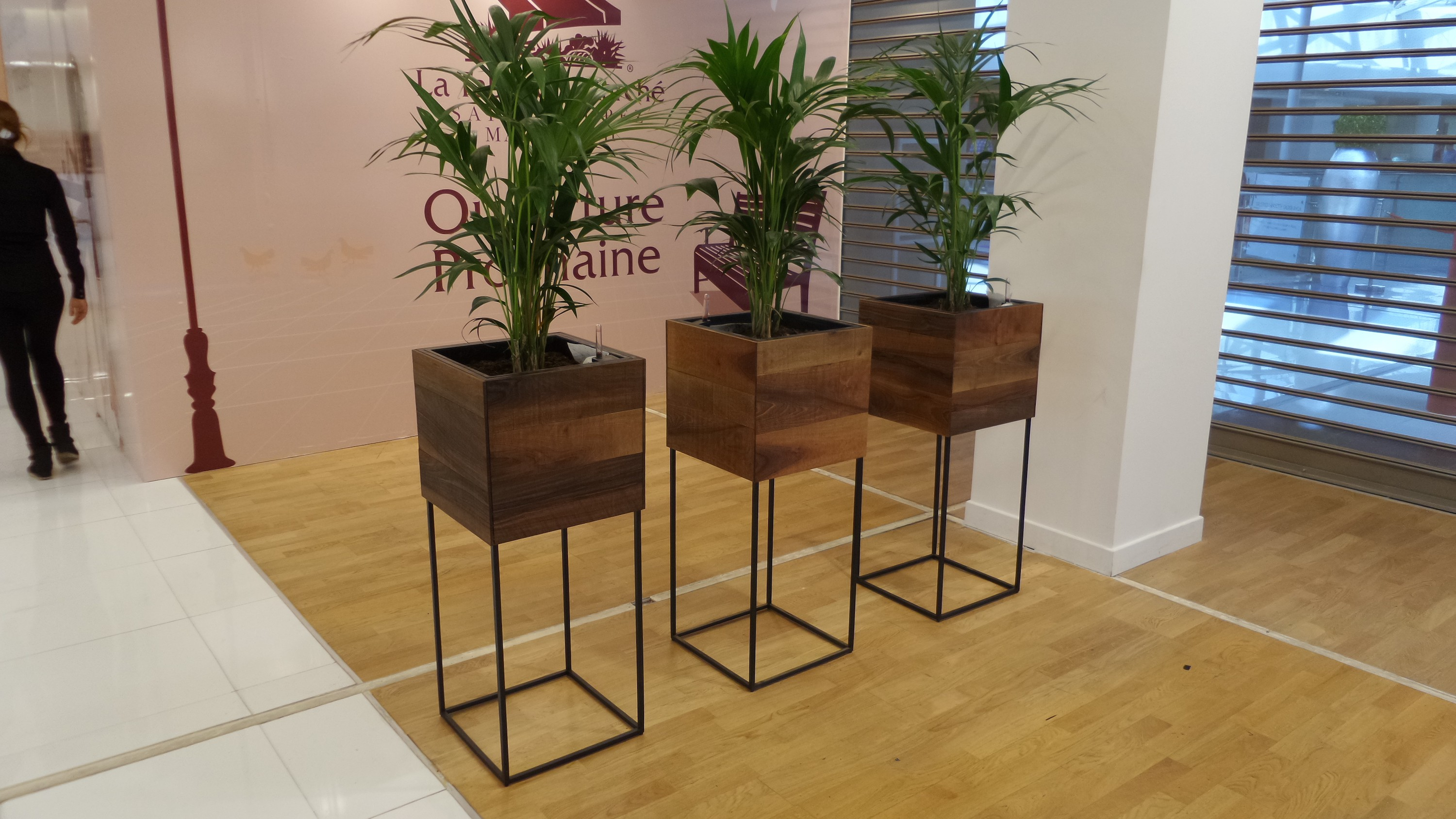 walnut and metal plant stands