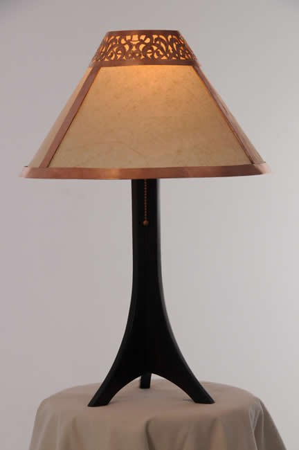 Medina table lamp - carved light copper